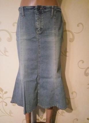 Topshop . джинсовая юбка рыбка спідниця . размером 10