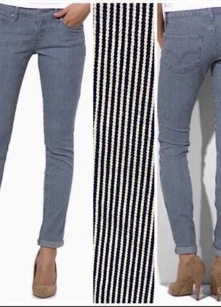 Новые джинсы скинни полосатые w30 l32 'levis 524'