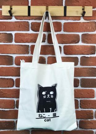 Сумка шоппер city-a кот белая