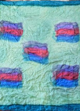 Большой шелковый платок косынка . 100% натуральный шелк
