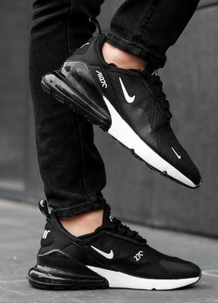Мужские кроссовки nike air max 270 черные с белым весна осень ...
