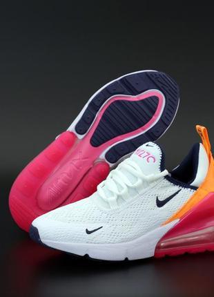 Женские кроссовки nike air max 270 белые оранжевые розовые вес...
