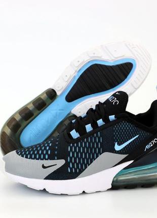 Мужские кроссовки nike air max 270 черные голубые белые  весна...