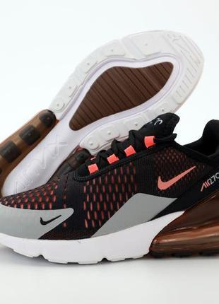 Мужские кроссовки nike air max 270 черные оранжевые весна осен...