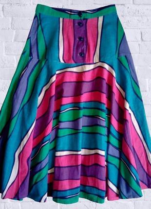 Летняя цветная юбка солнце-клеш на кокетке