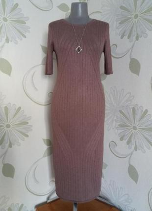 Платье вязаное трикотажное в рубчик миди мокко лапша