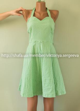 Красивое летнее платье с пышной юбкой в горох хлопок