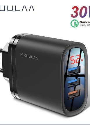 KUULAA Quick Charge 3,0 USB 30 Вт QC3.0 QC Быстрая зарядка многоф