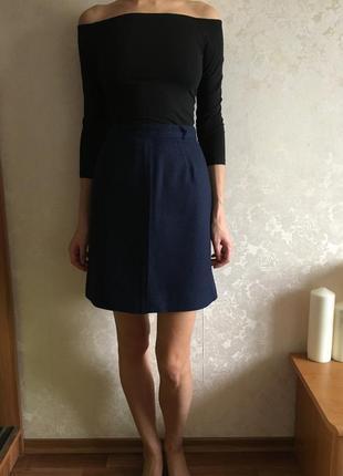 Шерстяная юбка с завышенной талией