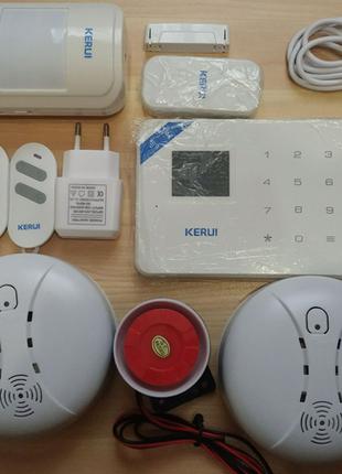 Сигнализация Kerui w18 GSM Wifi датчик дыма газа двери движения