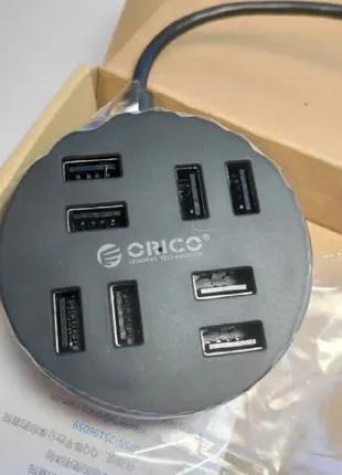 Хаб USB 2.0 ORICO 8 портов активный, с OTG и доп. питанием