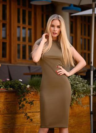 Платье футляр летнее базовое облегающее цвет хаки