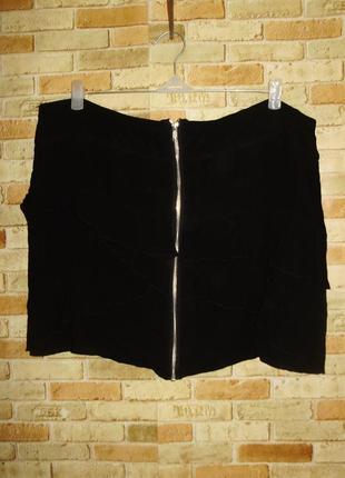 Двухслойная вискозная юбка на молнии с рюшами/20/54-56 размера
