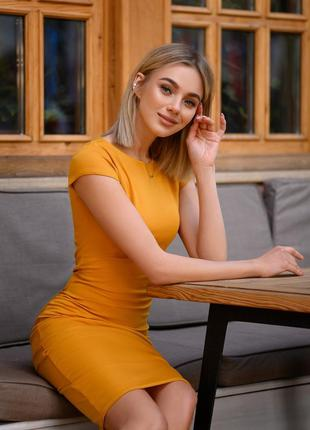Платье трикотажное горчица футляр летнее средней длины