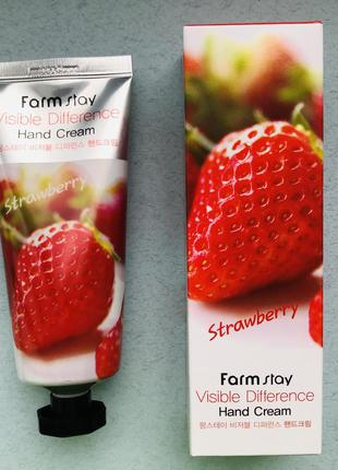 Крем для рук с клубникой farmstay visible difference strawberr...