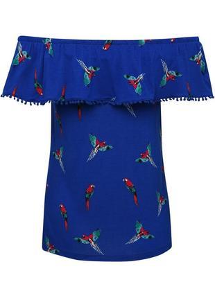 Красивая футболка со спущенными плечами принт попугаи/16/50-52...