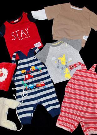 Комплект футболка next лот для новорожденного 2-6 мес комбинез...