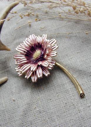 Элегантная крупная брошь цветок гербера с эмалью брошка с цвет...