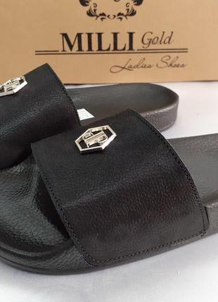 Распродажа!стильные чёрные шлёпанцы кожаные milli gold