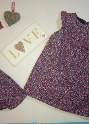 Платье и трусы трусики под памперс коттон натуральное цветочны...