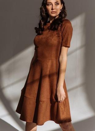 Стильное  короткое платье эко-замш в расцветках