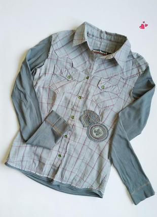 Стильная комбинированная рубашка с нашивками, молодежная одежда