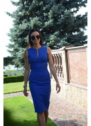 Синее платье футляр с вырезами на спине Love Republic