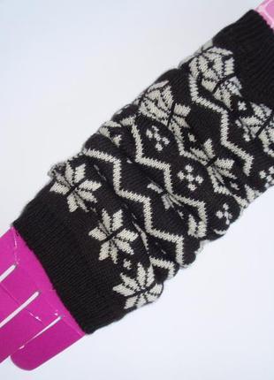 Красивые теплые вязаные митенки перчатки без пальцев - нидерланды