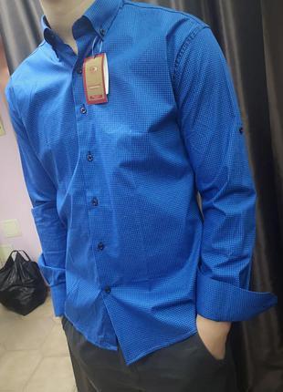 Мужская классическая рубашка приталенного кроя р.xl