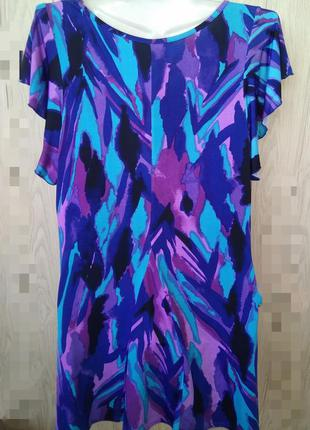 Эффектная свободная туника /xl/модная блуза bm футболка с вола...