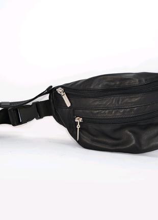 Поясная сумка из натуральной кожи черного цвета на заказ
