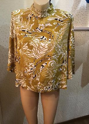 Красивая горчичная блуза 3/4 рукав вискоза 100%
