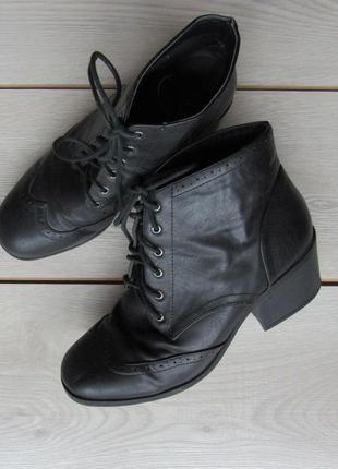 Черные ботинки на толстом каблуке от new look