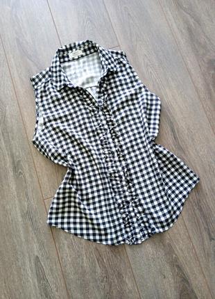 Рубашка/блуза без рукава топ кофточка в черную белую клетку