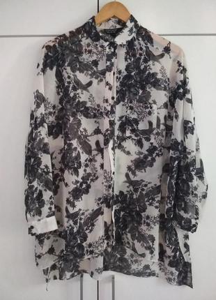 Платье ,  удлиненная рубашка topshop с птицами и цветами