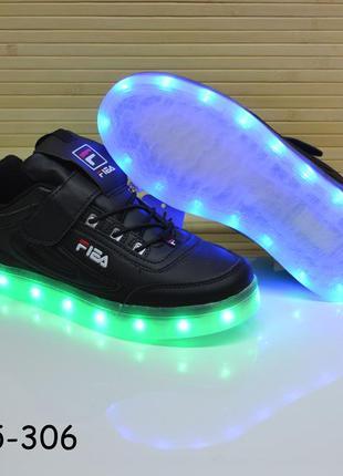Кроссовки со светящей лед подошвой с юсб кабелем размеры 32-37