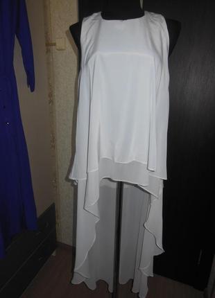 Шикарная трендовая двойная блуза со шлейфом
