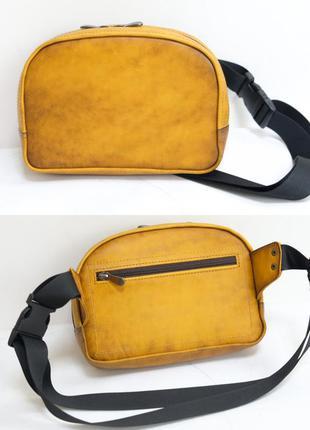 Кожаная бананка сумка на пояс из натуральной кожи итальянский ...