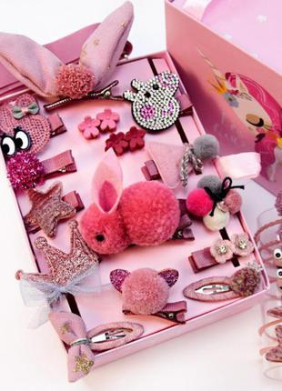 Набор украшений 24 заколок для принцессы для девочки пудровый