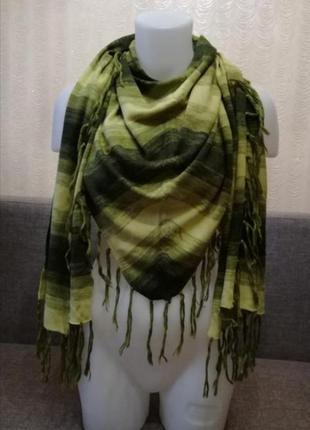 Трикотажный шарф пелерина бактус косынка капор с бахромой