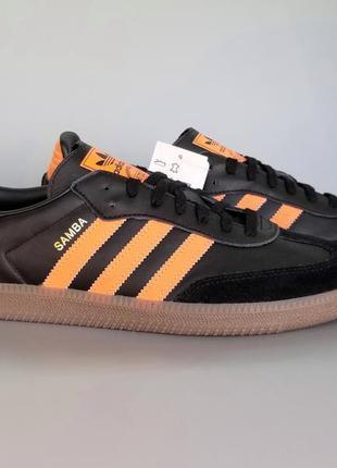 """Кроссовки кожаные adidas originals samba og fb """"black/orange"""" ..."""