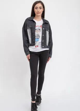 Джинсовая куртка женская  цвет Черный