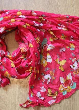 Яркий шарф палантин бабочки розовый 180*90 см. летняя распродажа!