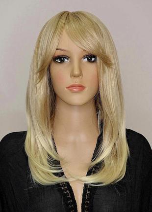 Парик с имитацией кожи мелированный пшеничный блонд