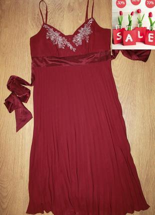 Платье сарафан с плиссировкой monsoon с вышивкой 40-42р