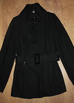 Пальто шерстяное redhering черное демисезонное 38р. шерсть