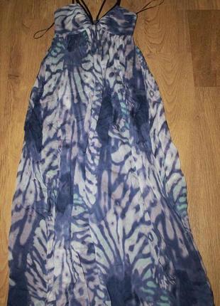 Длинное шелковое платье сарафан  в пол wish 36р. шелк