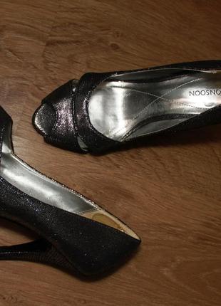 Босоножки туфли серебристо черные monsoon  36р. мега распродажа!