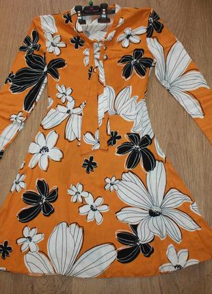 Платье сарафан с рукавами принт крупные цветы f&f 34-36р.