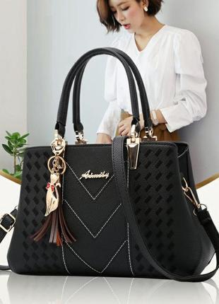 Женская черная стильная сумка новинка 2020